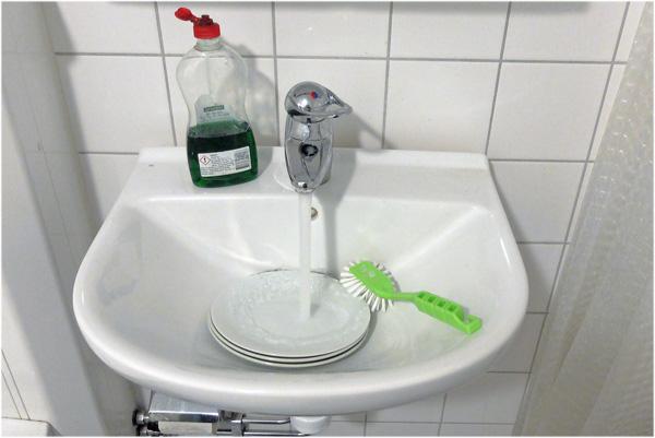 Det går även att diska i badrummet